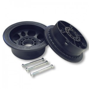 "5"" Azusalite Wheel, 3.5"" Wide for 1-3/8"" OD Ball Bearings, 2 halves with nuts and bolts only, part no. 1049"