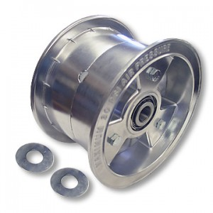 "6"" Tri-Star Aluminum Wheel, 4"" Wide with 3/4"" ID Tapered Roller Bearings, Part No. 1106"