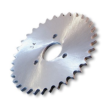 "Aluminum Sprocket, #35 Chain, P5256, 1"" Bore, 1.687"" Bolt Circle, 3 Bolts @ .272, 34 Tooth, part no. 2034"
