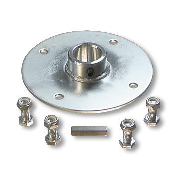 "Zinc-Plated Steel Sprocket Holder (Hub) for 1"" Live Axles, with Hardware, 4"" Bolt Circle, part no. 2286"