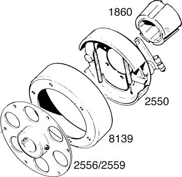 "6"" Drum Brake Assembly Lineart"