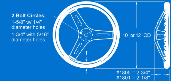 Competition Steel Steering Wheels, Part Nos. 1801 & 1805, Dimensional Illustration