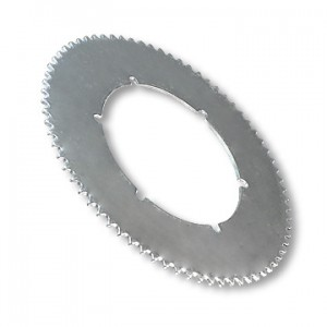 "Steel Sprocket, 72 tooth, 5.25"" Bolt Circle, 6 holes @ 3.125"" 4.930"" Bore, Bolt Pattern P5245, part no. 2158"