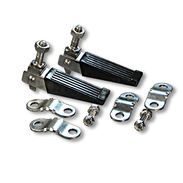 Mini-Bike Folding Foot Pegs, Pair, with Mounting Clamps, Part No. 2239