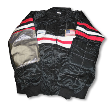 Part No. 1529, Satin Racing Jacket, Black with White Chest Panel and Red Accent Stripe