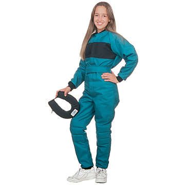 Part No. 1670, Child Racing Suit, Cordura® Plus, Teal with Black Chest Panel (shown with Black Nylon 420 Horseshoe Collar