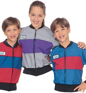 Part Nos. 1672 & 1680, 3 Azusa Classic Kids Jackets, Red with Blue Chest Panel, Silver/Gray with Purple Chest Panel, Blue with Red Chest Panel