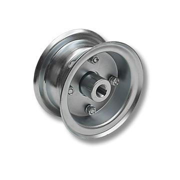 "Part No. 1021, 5"" Multi-Purpose Steel Wheel, 2 Halves & 3/4"" Live Axle Hub"