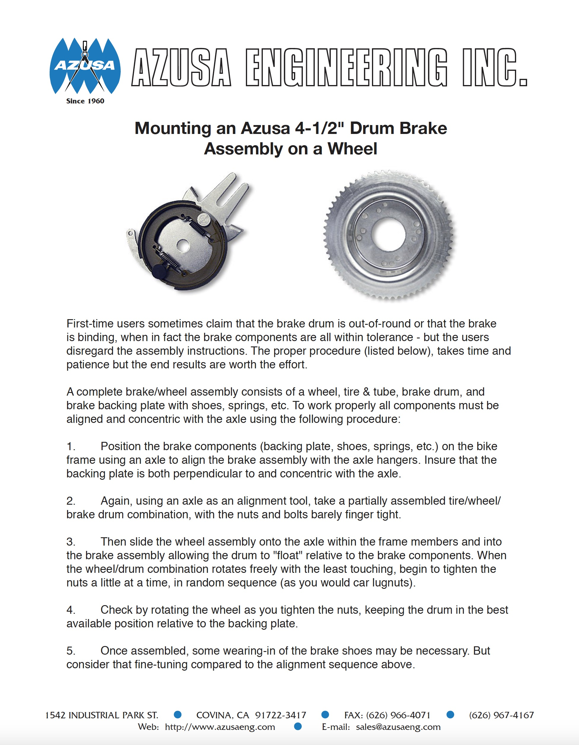 "Image of PDF for ""Mounting an Azusa 4-1/2"" Drum Brake Assembly on a Wheel"" Guidelines"