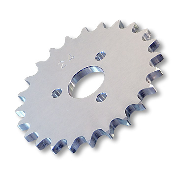"Aluminum Engine Sprocket, #40 Chain, P5248 Bolt Pattern, 1"" Bore, 1.680"" Bolt Circle, 24 tooth, part no. 2724"