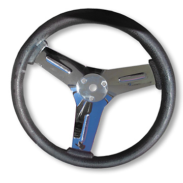 "12"" Competition Steering Wheel, Neoprene over Chrome-Plated Steel"