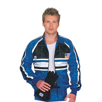 "Part No. 1521, Adult ""Volare"" Racing Jacket, Blue with Black and White Accents"