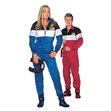 Part No. 1535, Two Forza Racing Suits, Blue w/Black & Red w/Black