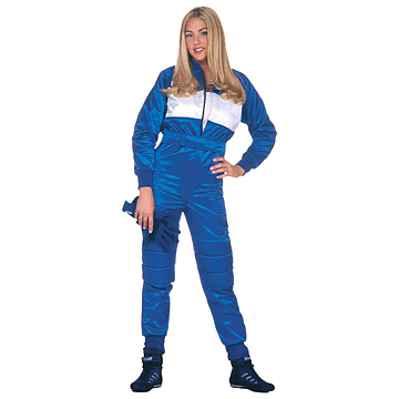 Part No. 1677, Adult Racing Suit, Antron® Blue, White Chest Panel