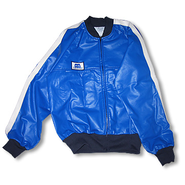 "Part No. 1660, Adult ""Bruiser"" vinyl Classic Jacket, Blue with Black Trimp and White Vertical Arm Stripes"