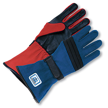 Part No. 1665, Adult Racing Gloves, Blue, Red Samples