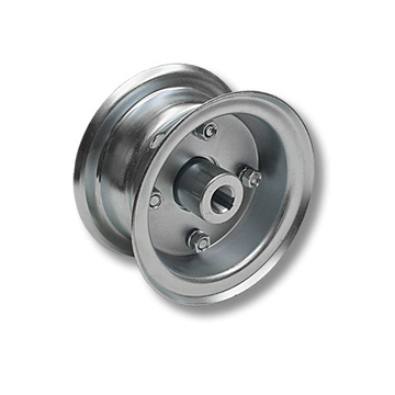 "Part No. 1021, 5"" Multi-Purpose Steel Wheel, 2 Halves & 3/4"" Live Axle Hub"